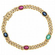 14K Yellow Gold Ruby, Sapphire and Emerlad Bracelet | Armband in 585er Gelbgold mit Rubin, Saphir und Smaragd