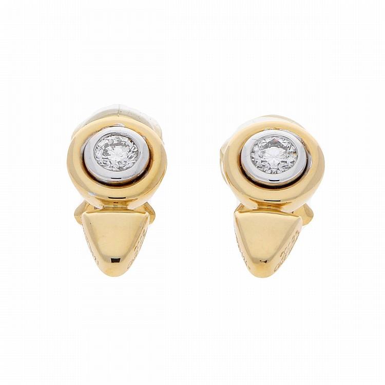 18K Bicolor Brilliant Earrings | Paar Brillant-Ohrclipse in 750er bicolor