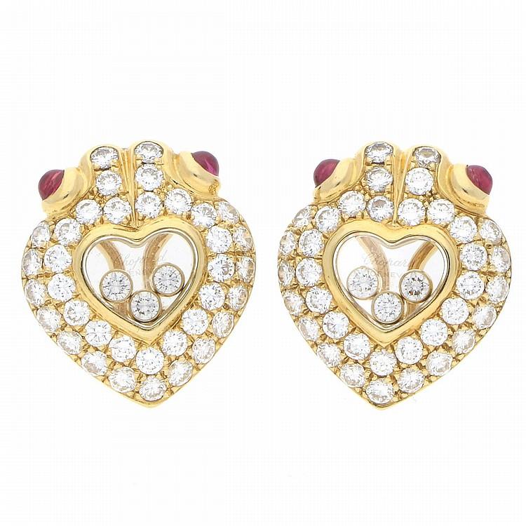18K Yellow Gold Chopard Happy Diamonds Earrings | Chopard Ohrstecker aus 750er Gelbgold