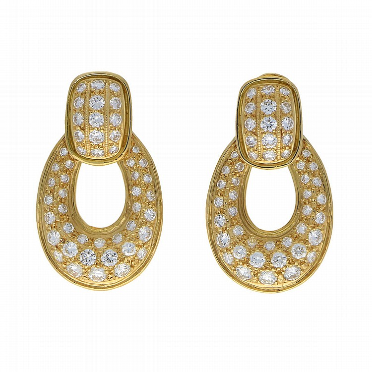 18K Yellow Gold Earrings | Paar Brillant-Ohrringe in 750er Gelbgold