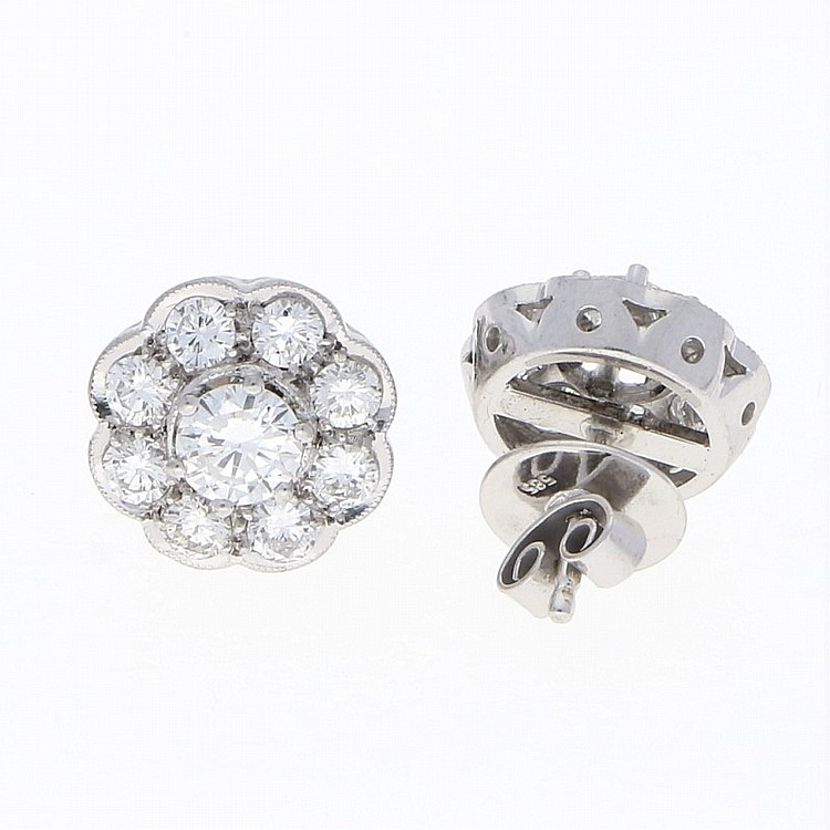 14K White Gold Brilliant Earrings | Paar Brillantohrstecker aus 585er Weißgold