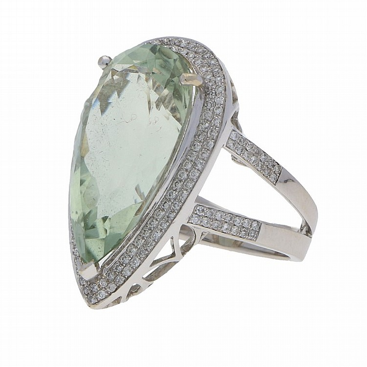 18K White Gold Prasiolite Brilliant Ring | Prasiolith-Brillantring in 750er Weißgold