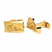14K Yellow Gold Cufflinks | Paar Manschettenknöpfe aus 585er Gelbgold