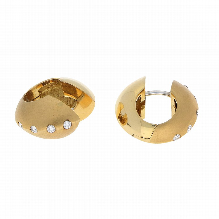 18K Yellow Gold Brilliant Earrings | Paar Creolen in 750er Gelbgold mit Brillanten