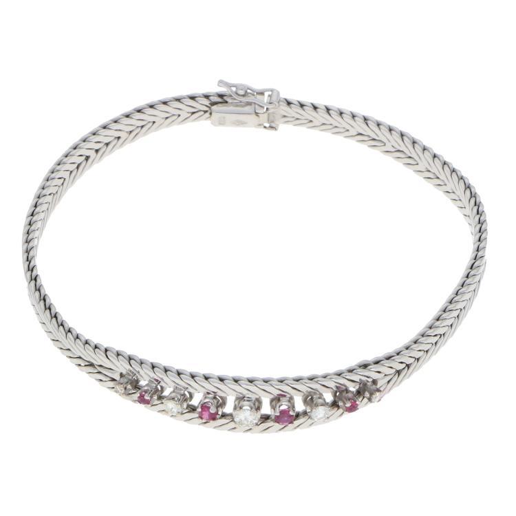 38c48a986bdc 14K White Gold Diamond and Ruby Bracelet   Armband aus 585er Weißgold mit  Rubinen und Brillanten