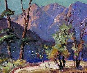 Erna Nook Jackson Canadian [1886-?] UNTITLED; MOUNTAIN LANDSCAPE Oil on board 8 x 10 ins. : 20 x 25 cm Signed