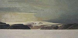Alan Caswell Collier Canadian O.S.A., R.C.A. [1911-1990] PRIMORDIAL LAND, SOUTH SHORE OF DEVON ISLAND, N.W.T., OVER LANCASTER SOUND Oil on canvas 36 x 72ins. Signed & titled Collection of Dow Chemical Canada Inc. Provenance: Roberts Gallery Ltd.,