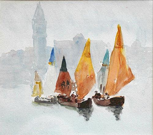 Rosa Wallis (1857-1946), Boats in front of Santa