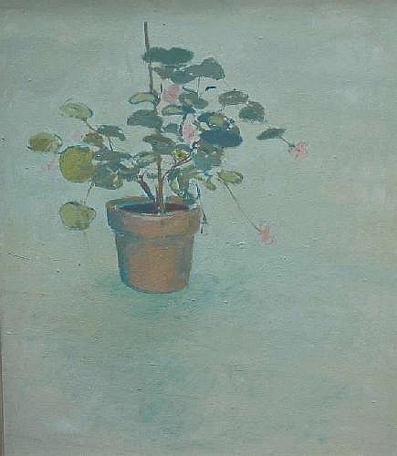 Charlotte Ardizzone (b. 1943), 'Pink geranium', oil on canvas, executed in 1984, 75 x 65cm (29.5 x 25.5in) Exhibited: Curwen Gallery London, June 1984, no. 15 (see illustration)
