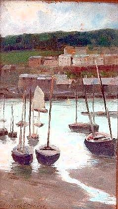 [ OIL PAINTINGS ] Alfred J. Warne-Brown (fl.1884-1913), Harbour scene probably in Cornwall, oil on board, signed lower left, 20 x 11.5cm ( 8 x 4.5in) (see illustration)