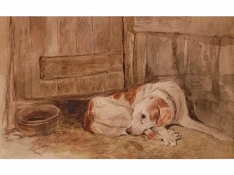 Thomas Crane (1808-1859) A hound resting pencil