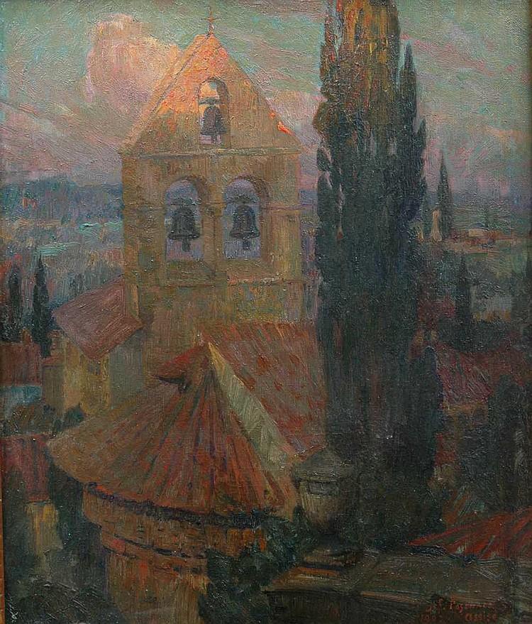 Josef Posenaer (Belgian, 1876-1935) A church in