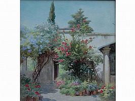 Mary Georgina Barton (Irish, 1861-1949) 'A Patio
