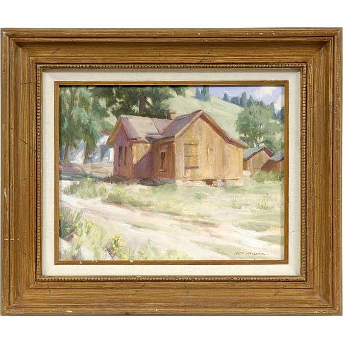 Ned Mueller western village landscape oil