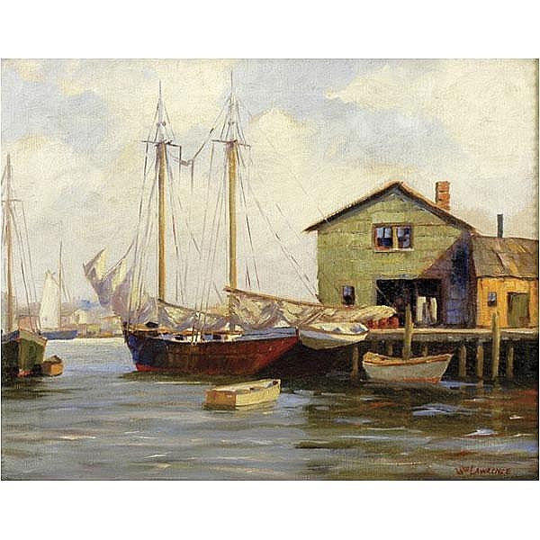William Hurd Lawrence, Cape Ann harbor painting