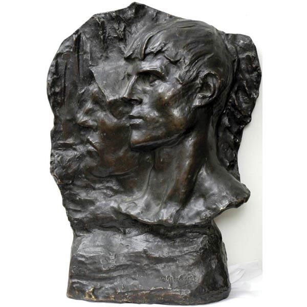 "Constantine Emile Meunier, Belgium, 1831-1905, Relief of two men's faces in profile, bronze in dark patina, 24""h x 16""w x 5""d, signed, excellent condition."