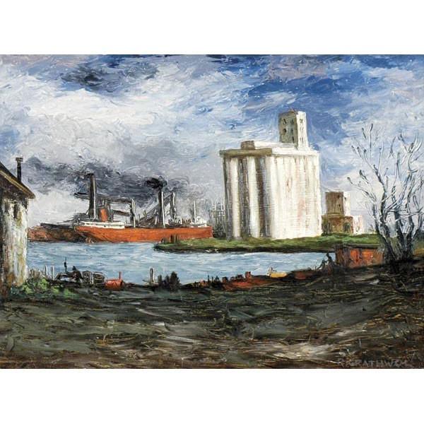 Ray Anthony Grathwol, Cleveland, b.1900, Industrial harbor scene, oil on board, 18