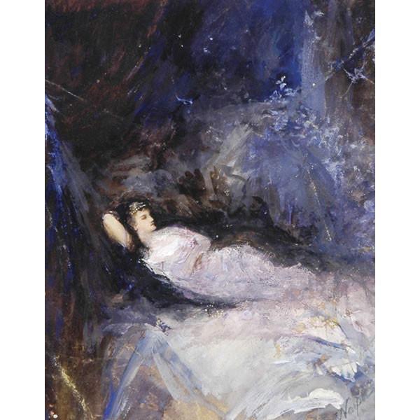 William St John Harper, A.N.A., NY, 1851-1910, Reclining woman in fancy gown, gouache, 18