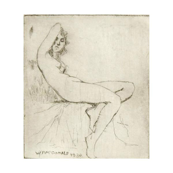 William Purcell McDonald, Cincinnati, 1863-1931, Reclining nude, etching, 3.5