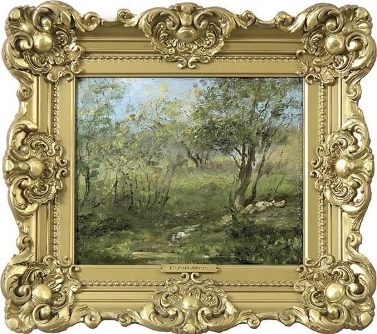 Charles T Webber, Cincinnati, 1825-1911, Forest pathway, oil on canvas, 10