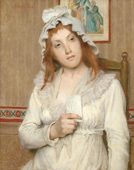 Tony Robert-Fleury, France, 1838-1912, Red haired lady with letter, oil on canvas, 16