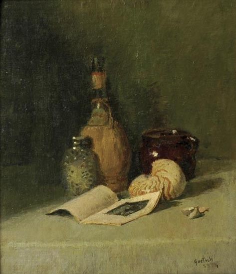 Gustav F. Goetsch, MO, 1877-1969, Still life with pamphlet, 1959, oil on board, 16