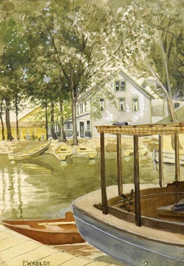 Frederick William Kolde, Cincinnati, 1870-1958, Lakeside home with picnickers and boats, watercolor, 10