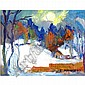 Israel Abramofsky snow landscape w/houses, Israel Abramofsky, Click for value
