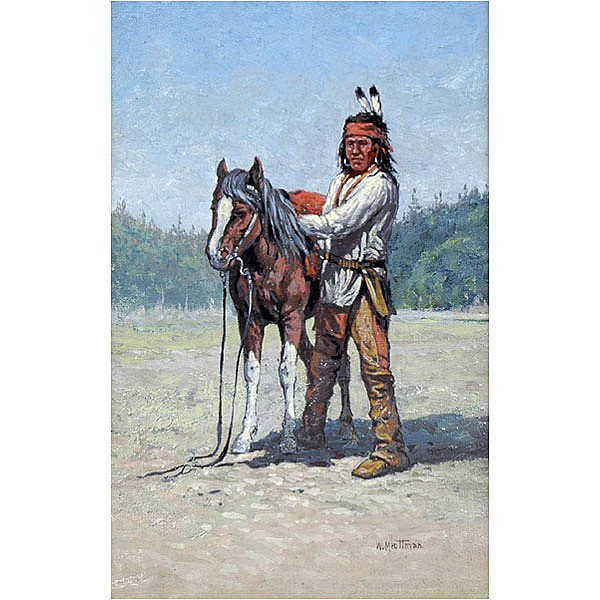 William Meuttman, Indian brave painting w/horse