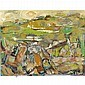 Paul Chidlaw abstract landscape painting, oil canvas