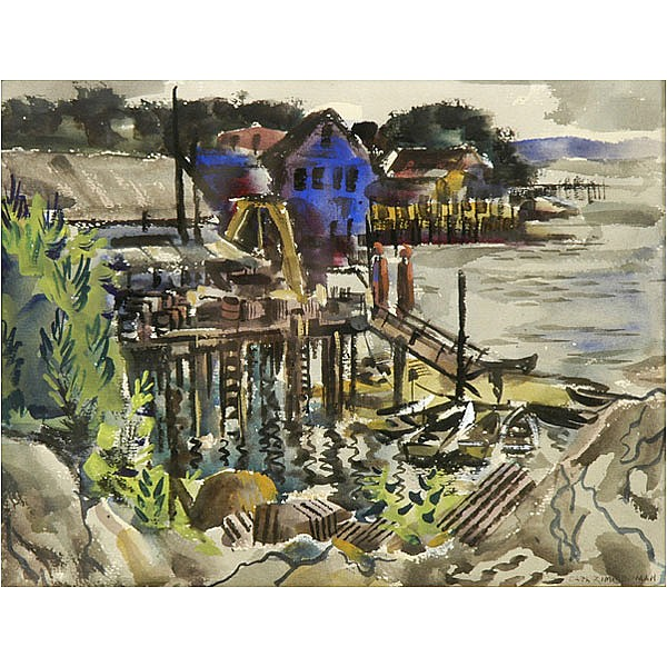Carl Zimmerman, Cincinnati, watercolor harbor scene