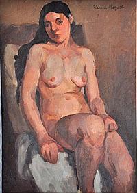 """MAGUET Richard (1896-1940) - """"PORTRAIT"""" - Huile sur toile signée en haut à droite. 46x33 cm"""