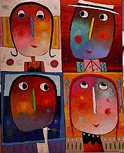 """JEHAN Christophe (Né en 1961) - """"LES QUATRE AMIS"""""""