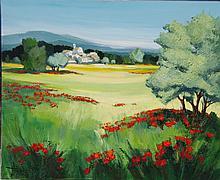 TRIOLET Jean (1939) - Paysage aux coquelicots - huile sur toile signée en bas à gauche - 50,5 x 60,5 cm