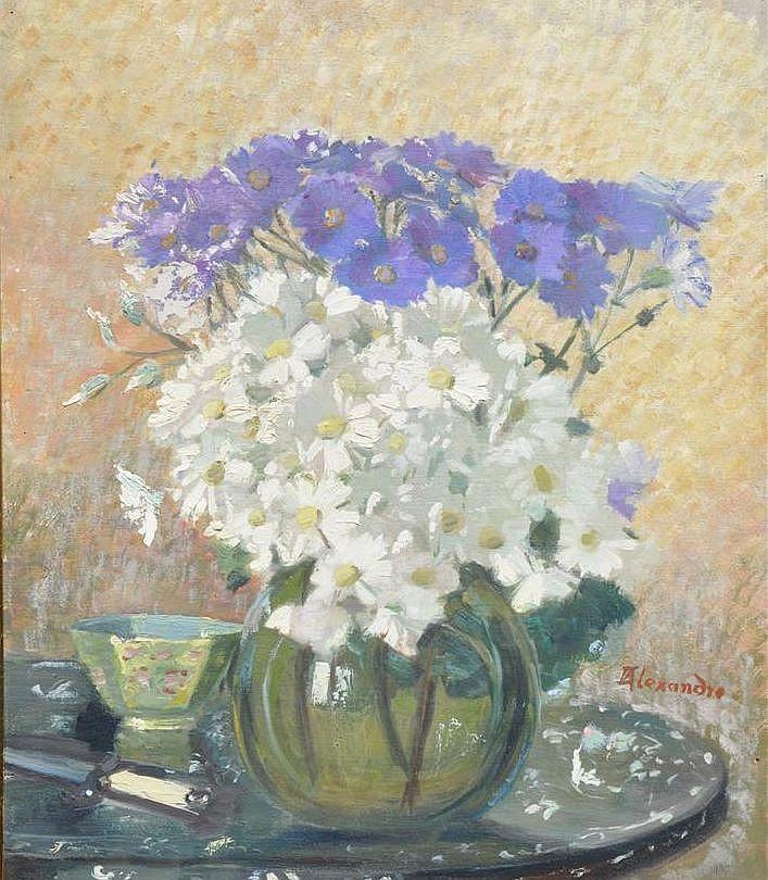 Alexandre bouquet de fleurs huile sur panneau sign e en for Bouquet de fleurs wine