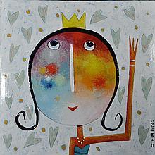 JEHAN Christophe né en 1961 - La jolie reine - Acrylique sur toile - signée en bas à droite - 80 x 80 cm