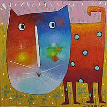 JEHAN Christophe né en 1961 - Spotted cat - Acrylique sur toile - signée en bas à droite - 50 x 50 cm