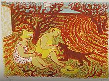 SAVIN maurice (1894-1973) - La pause : scène champêtre - Lithographie numér