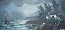 René PERROT (XXème siècle) - Marine au clair de lune - Huile sur toile sign