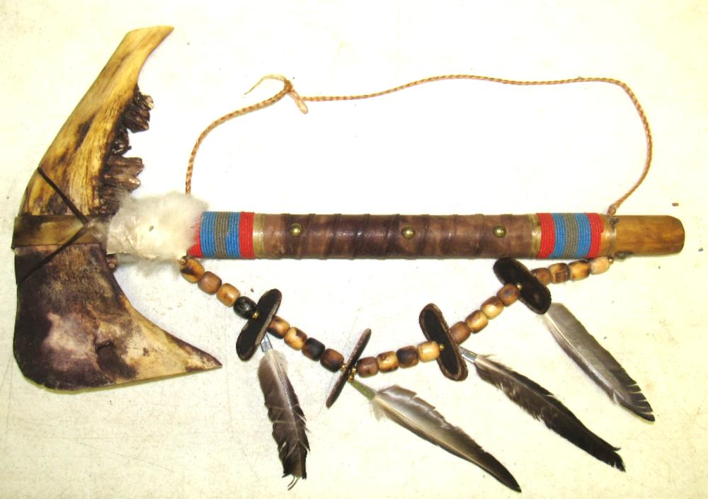 """Ceremonial Axe, Made from Buffalo Jaw, 21""""L x 12"""", Ex Ken Blake Collection"""
