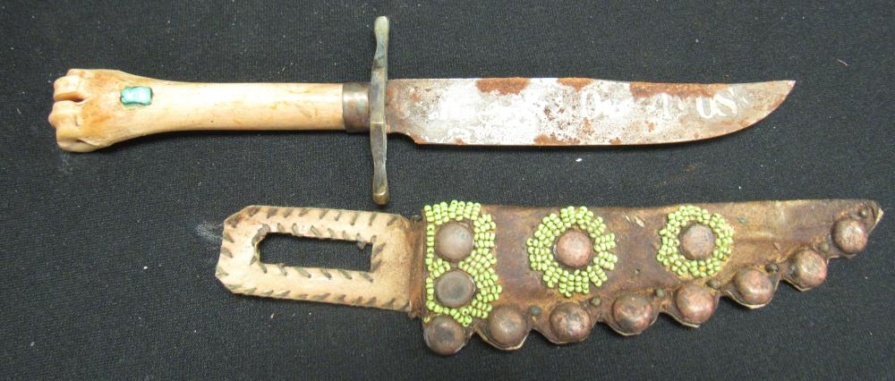 """Indian Reservation Knife 11 1/2""""L, Deer Bone Handle, Turquoise Nugget, Leather Sheath, Green Seed Beads, Twelve Brass Rivets"""
