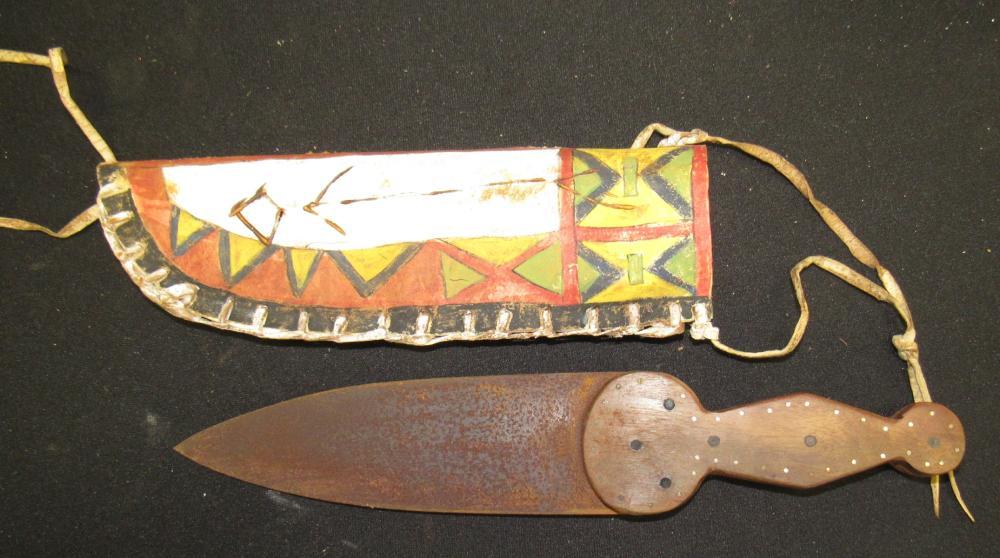 "13"" Dag Knife Northwest Indian, 6 Brass Pins, 24 Pins, Hand Painted Sheath"