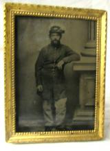 Civil War Framed Tin Type, After Further Inspection found lady's picture in frame also, Came from Tiffany Estate, Soldier's Name Tiffany, Richland Co., Shelby, Ohio, 3 3/4