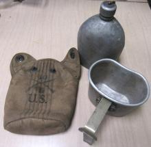 Original 1918 WWI 3pc Military Canteen- 10 L US, EC
