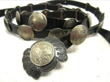 Buffalo Dancer Indian Head Nickels Sterling Silver Concho Belt, 58