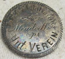 Civil War Meadville, PA Red Cross Pin on a 1853 Sitting Liberty Quarter, 1 1/8
