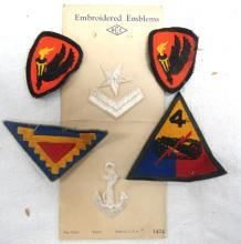 Six Original Vintage Military Patches, EC