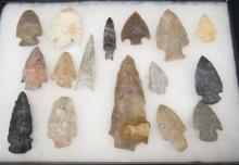 Sixteen Arrowheads , Field Found, Ohio Collection