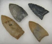 Four Kentucky Arrowheads , Hornstone Flint
