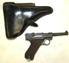 German Luger 9MM Pistol with Clip, Holster Has Soldiers Name Engraved as Shown, EC